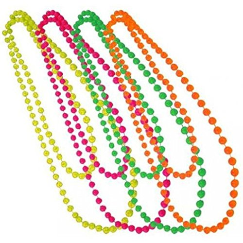 Tinksky Beaded Necklace 70's 80's Them Plastic Necklace 6-color for Prome Party, 6-pack