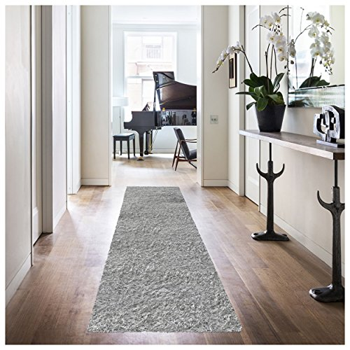 "Superior Elegant Shag Rug, Plush and Cozy Hand Tufted Area Rugs, Chic and Contemporary Eyelash Shag Rug with Cotton Backing - 2'6"" x 8' Runner, Silver (Shag Shiny)"