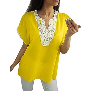 Qingsiy Mujeres Verano Camisetas De Encaja Suelta Pullover Casual ...