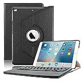 iPad Air Keyboard Case, KVAGO Stylish 360 Degree Rotating Swivel Case with Detachable Wireless Bluetooth Keyboard Case for Apple iPad Air 1st Gen (Model: A1474 / A1475 / A1476)- Black