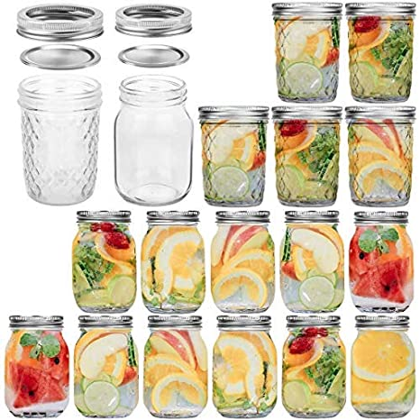 Amazon Com Glass Jars 16 Oz Canning Jars With Lids And Bands