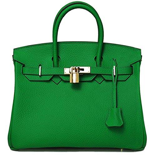 GSHGA Classic Handle Top European And Genuine Handbags Padlock American Leather Green rgrZ8qxF