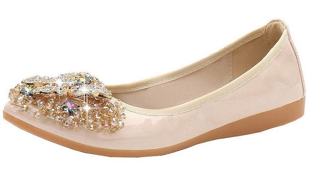 AalarDom Womens Pu No-Heel Pointed Closed Toe Studded Pull-on Pumps-Shoes,TSDDH004639