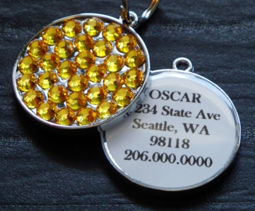 (Light Topaz Swarovski Rhinestone Pet ID Tag)