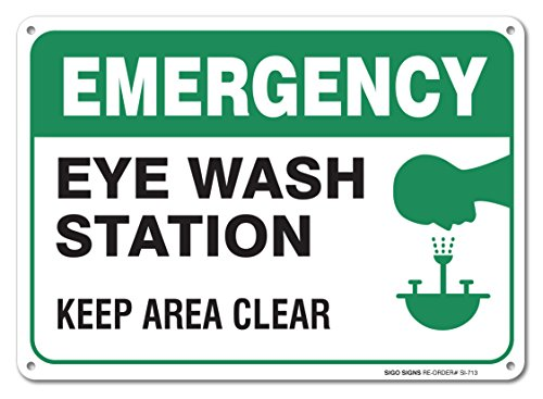 Emergency Eye Wash Station Sign, Large 10x7
