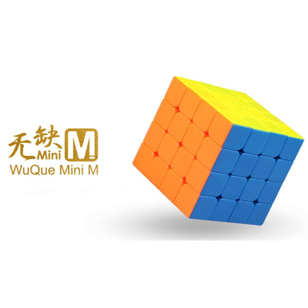 CuberSpeed QiYi Mini WuQue 4x4 M stickerless Speed Cube Mofangge Mini Wuque Magnetic Magic Cube