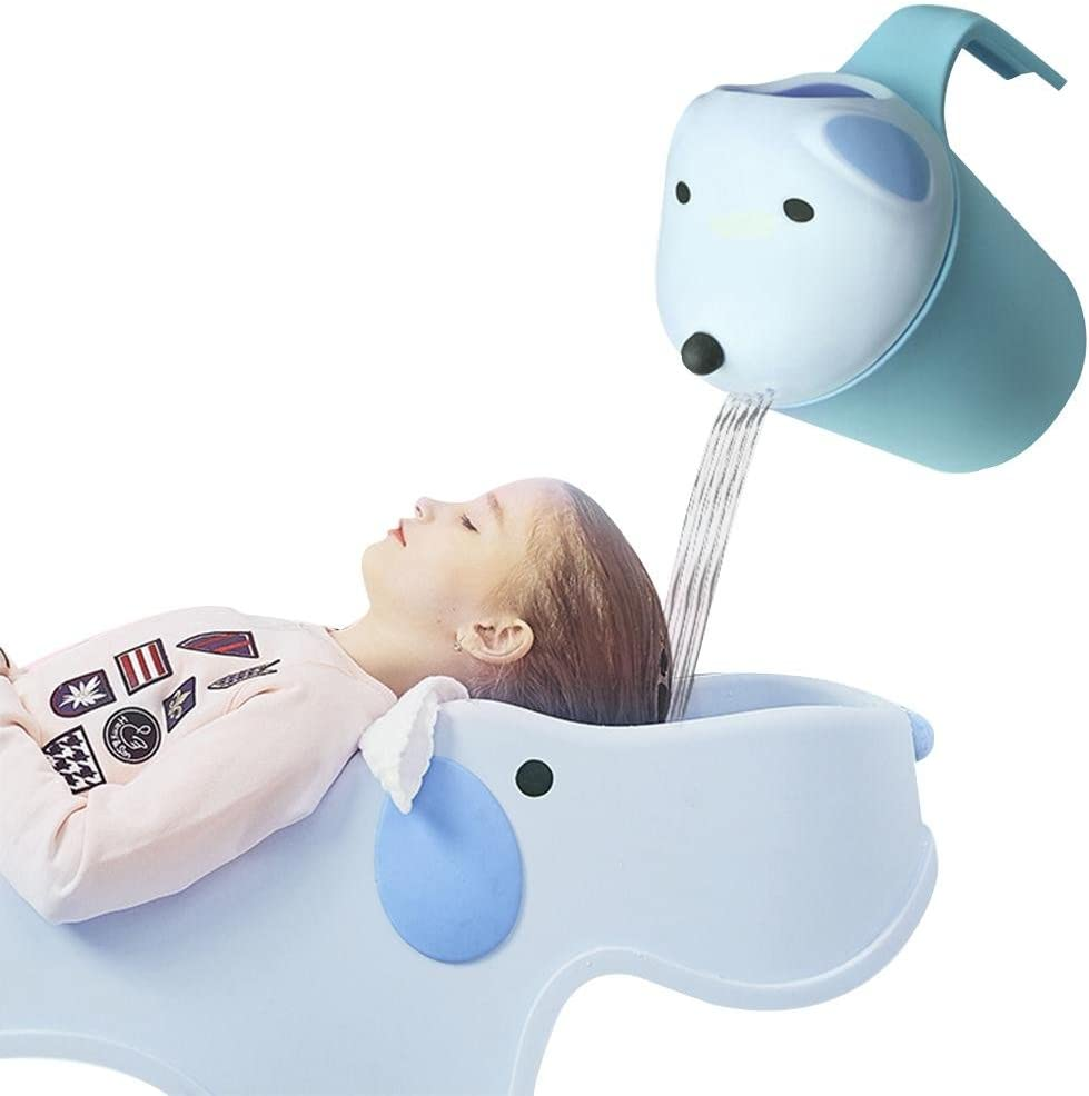WXGY Cartoon Bear Shape Baby Bath Shower Caps Cup Spoons Bath Toys Kids Baby Shampoo Cup Washing Head Hair Wash Tearless Tub Bath Products Care For Children Birthday Gift comfortable