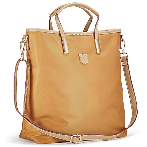 Lecxci Women's Oxford Nylon Large Capacity Tote Bag Top-Handle Satchel Handbags, Multi-pocket Shoulder Travel Bags for Women(Coffee Gold)
