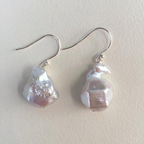Baroque Shape (Diamond cut shape baroque pearl earrings)