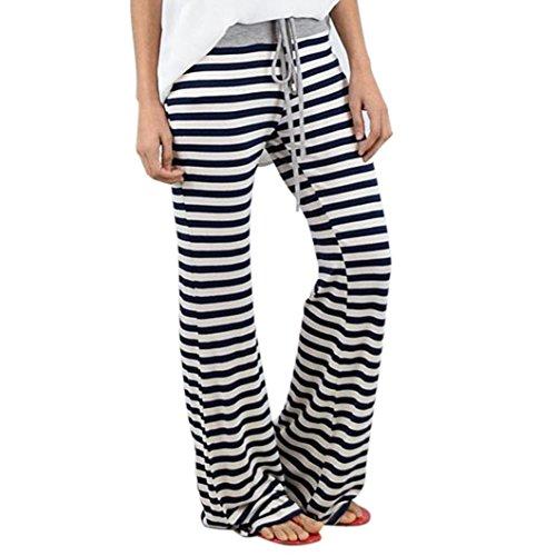 Slimming Twill Pants - Longra Women Stripe Prints Drawstring Wide Leg Pants Leggings Womens Slimming Sweat Pants Weight Loss Pants for Womens