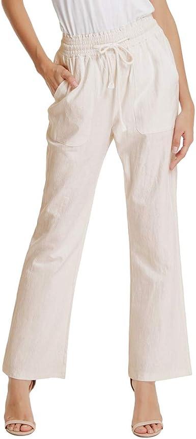 GRACE KARIN Pantalones de Mujer Elegante Recto Cintura Alta Slim Casual Material EláStico Cintura AlgodóN: Amazon.es: Ropa y accesorios