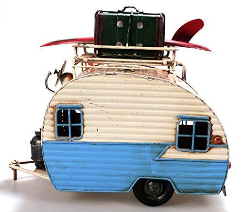 511GViKWBGL Unbekannt Wohnwagen aus Metall 23 cm hellblau mit Rahmen und Spardose Camper Auto Oldtimer Nostalgie