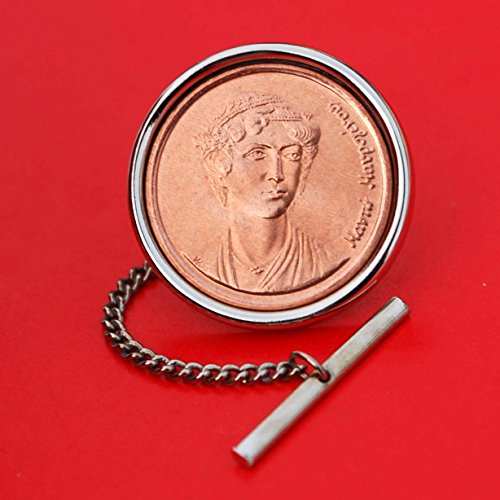 1990 Greece 2 Drachmes BU Unc Coin Silver Plated Tie Tac Tack Pin NEW - Manto Mavrogenous ( 1797 - 1840 ) Independence Hero