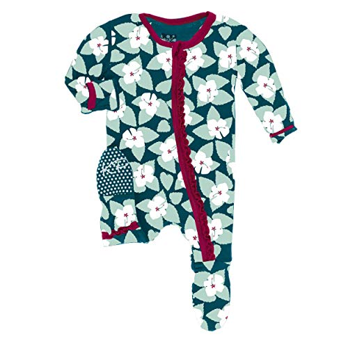 Kickee Pants Little Girls VM Custom Print Muffin Ruffle Footie with Zipper - Oasis Hibiscus with Rhododendron Trim, 3-6 Months