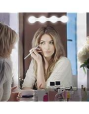 Klighten Hollywood LED-makeup-lampor, 4 LED-glödlampa sminklampa, batteridriven spegellampa (batterier ingår inte) / Makeup-lampa med USB, justerbar ljusstyrka, 1 st