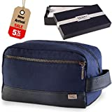 """Toiletry Bag for Men - Canvas Dopp Kit for Travel, Gym, Grooming & Shaving, Waterproof Lining, 10"""" x 4.5"""" x 5.5"""", Blue Color with Vegan Leather Trim, Comes in Gift Box by Kalooi"""