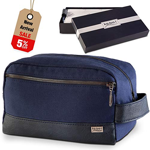 Toiletry Bag for Men - Canvas Dopp Kit for Travel, Gym, Grooming & Shaving, Waterproof Lining, 10