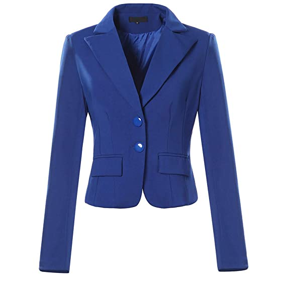Amazon.com: AOJIAN Women Jacket Long Sleeve Outwear Solid Color Two Button Pocket Slim Fit Small Suit Blazer Coat: Clothing