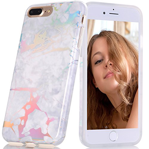 BAISRKE Shiny Laser Style White Marble Design Bumper TPU Soft Rubber Silicone Cover Phone Case Compatible with iPhone 7 Plus/iPhone 8 Plus [5.5 inch]