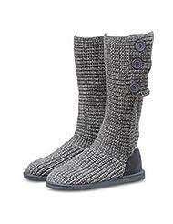 Unique Button Long Tall Woolen Flat Womens&Girl Snow Dress Boot