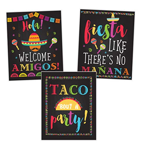 (Fiesta Taco Party Decorations, Birthday Signs Posters, Taco Bout A Party, Welcome Amigos, Cinco De Mayo Set of 3)