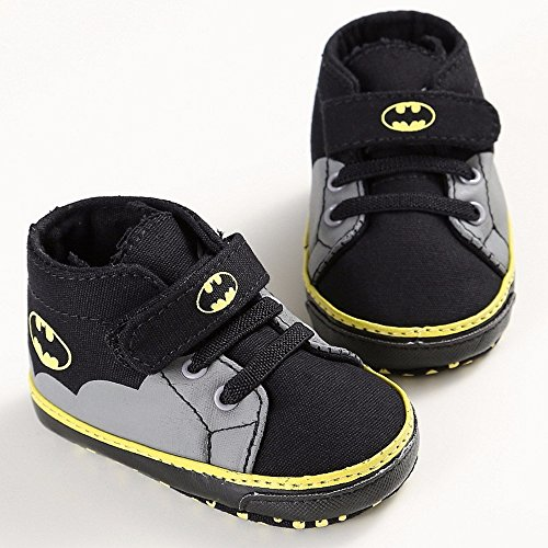 Baby Shoes Boys Girls Toddler Cartoon Batman Canvas Kids Footwear Casual Sneakers Crib Babe First Walkers (black, 13)