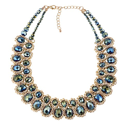 (KAYMEN FASHION JEWELLERY 18k Gold Platinum Plated Chains with Crystal Stone Knit Statement Choker Necklaces for Women 6 Colors (Green))