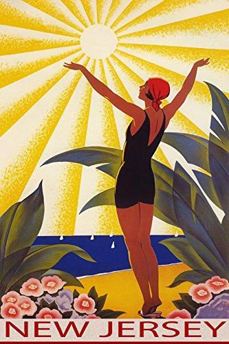 SUNSHINE NEW JERSEY BEACH GIRL WELCOMING THE SUN SAILING TRA
