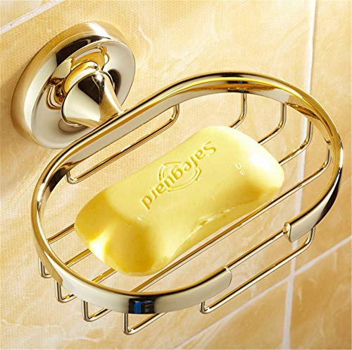 Zhahender Luxury Gold Solid Brass Soap Dish Polished Wall Mounted Bathroom Soap Net Soap Box Soap Holder Bathroom Accessories Sets Suction Cup Bar Soap Sponge Holder for Shower