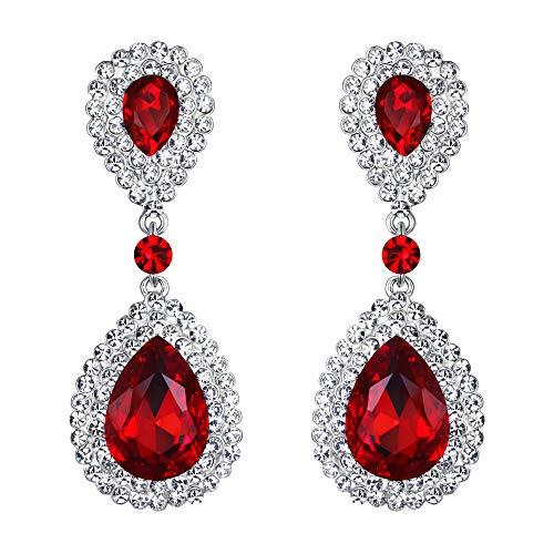 BriLove Silver-Tone Dangle Earrings Women's Wedding Bridal Fashion Crystal Teardrop Infinity Earrings Ruby Color -