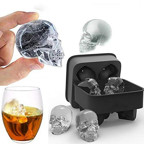 Titini Ice Cube Tray Pudding Mold 3D Skull Silicone 2Pack ()
