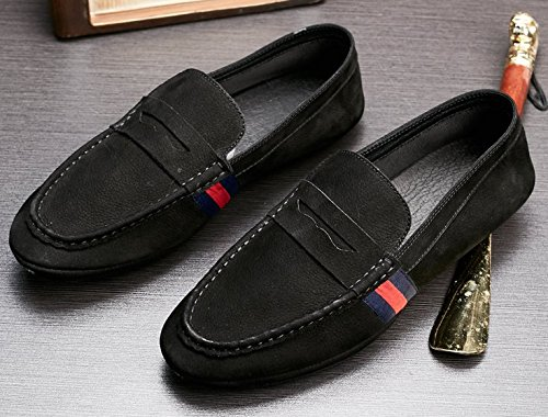 ... Happyshop Menns Suedeleather Retro Fritid Moccasin Komfort Slip-on  Driving Sko Loafers Svart ...