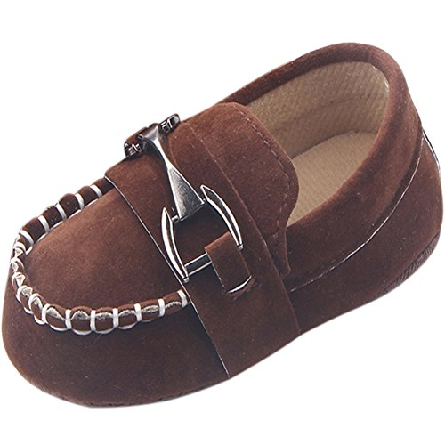 Fire Frog Baby Shoes Infant Toddler Boy Shoes Crib Bebe Classic Handsome Soft Soled Loafers Brown 12-18 Months