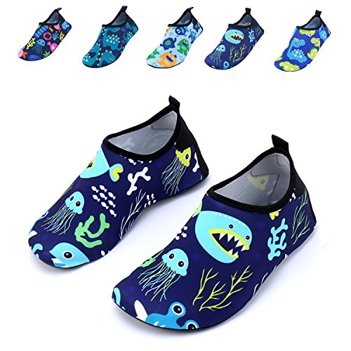 WXDZ Boys Girls Water Shoes Swim Shoes Quick Drying Barefoot Aqua Socks for Kids Beach (Beach Kids Socks)