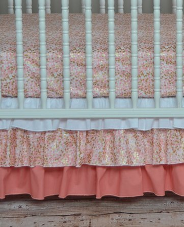 Lavender Linens Two Piece Coral,Peach and Gold Shimmer Crib Bedding (Gold Coral)