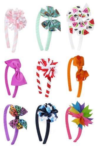 HipGirl charme filles interchangeable Bow cheveux et Bandeau Set Value Pack (18pc établit un nouveau bandeau interchangeable)