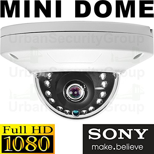 Urban Security Group 2MP 1080P HD Low Profile Dome Camera : 2.8mm Wide Angle HD Lens : Weatherproof Vandal-Proof : 12x IR LEDs : Easy-to-Mount 2 Piece Design : TVI, ()