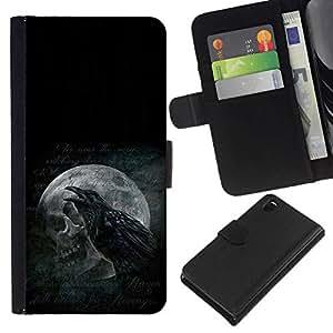 NEECELL GIFT forCITY // Billetera de cuero Caso Cubierta de protección Carcasa / Leather Wallet Case for Sony Xperia Z3 D6603 // Cuervo y del cráneo