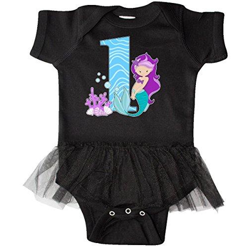 [Inktastic Baby Girls' First Birthday- mermaid Infant Tutu Bodysuit 12 Months Black] (Little Mermaid Tutu Dress)