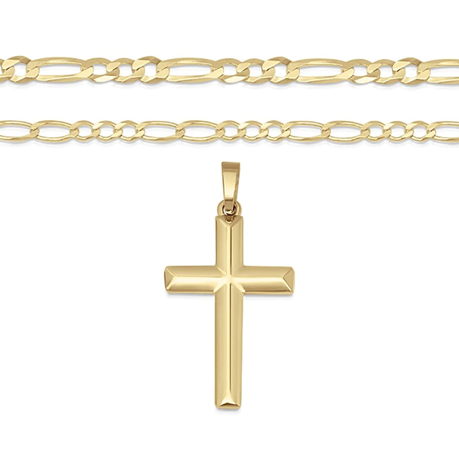 f0b3553cb995d6 XP Jewelry 14K Gold Plated Sterling Silver Cross Pendant Italian Made  Figaro Chain Necklace - Choice