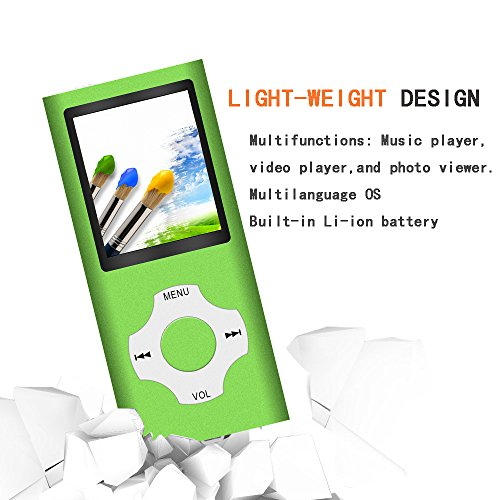 Tomameri – Portable MP3 / MP4 Player with Rhombic Button, Including a 16 GB Micro SD Card and Support Up to 64GB, Compact Music -Green