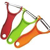 BOGZON Original Swiss Stainless Steel Peeler Set, Easy To Julienne & Scalpel & Serrated, 3Pcs In 1 Set, Green/Orange/Red