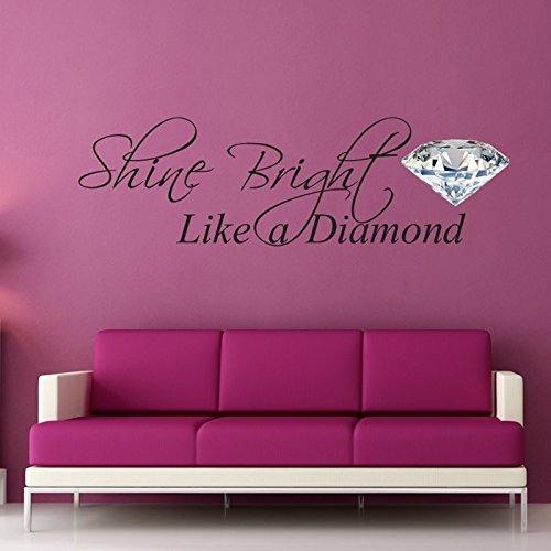 Wall Sticker Family Wall Quotes Vinyl Lettering Easy Wall Art Decal DIY Removable Cut Vinyl Shine Bright Like a Diamond Home Decor -