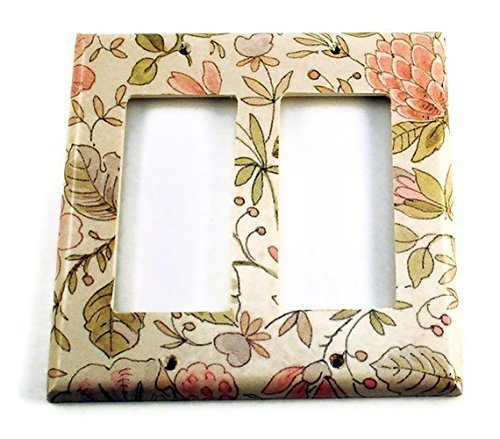 Double Rocker Switch Plate 2 Gang , Ivory Floral (285DR)