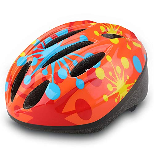 (Dostar Kids Bike Helmet - Adjustable from Toddler to Youth Size, Ages 5-14 - Cycling Scooter Multi-Sport Durable Kid Bicycle Helmets Boys and Girls Will Love (Orange dots))