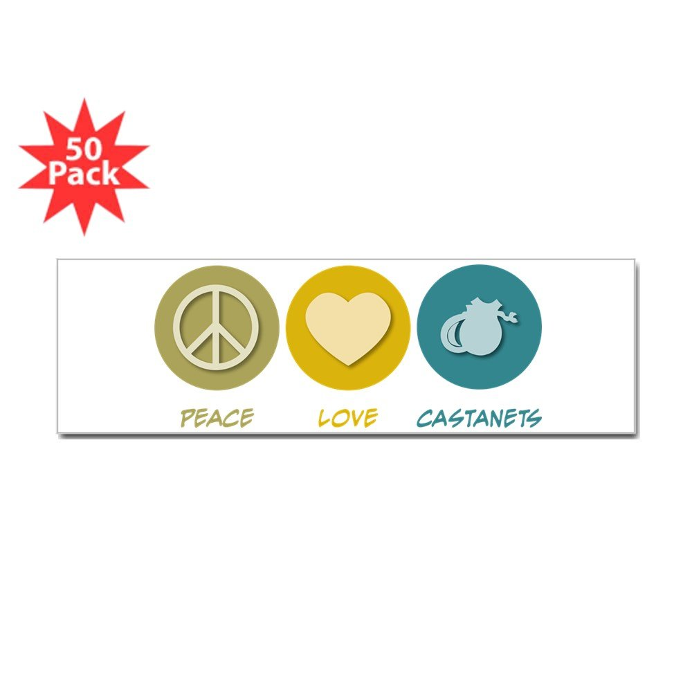 CafePress – Peace Love Castanetsバンパーステッカー( 50 pk ) – ステッカー(バンパー50 pk ) B073WG9MC8