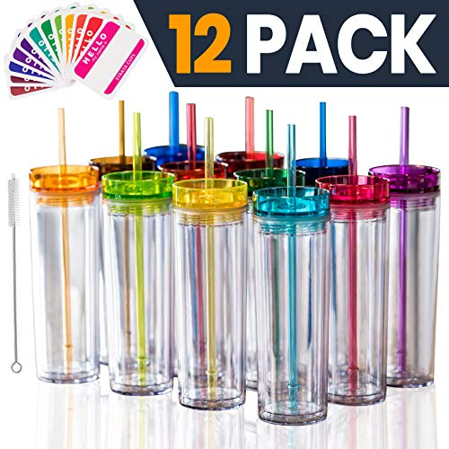 SKINNY TUMBLERS 12 Colored Acrylic Tumblers with Lids and Straws | Skinny, 16oz Double Wall Clear Plastic Tumblers With FREE Straw Cleaner & Name Tags! Reusable Cup With Straw (Multicolors, 12)