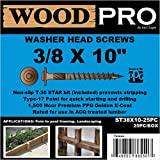 WoodPro Fasteners ST38X10-25PC 3/8-Inch by 10-Inch