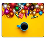 MSD Mousepad Cup of coffee and christmas gifts on yellow background Image 33173102 Customized Tablemats Stain Resistance Collector Kit Kitchen Table Top DeskDrink Customized Stain Resist