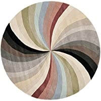 Safavieh Soho Collection SOH783A Handmade Abstract Pinwheel Multicolored Premium Wool Round Area Rug (6 Diameter)